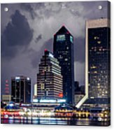 Jacksonville On A Stormy Evening Acrylic Print by Jeff Turpin