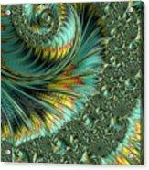 Jade And Yellow Fractal Spiral Acrylic Print
