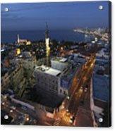 Jaffa At Night Aerial View Acrylic Print