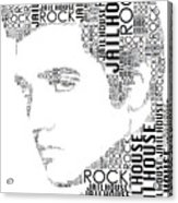 Jailhouse Rock Elvis Wordart Acrylic Print
