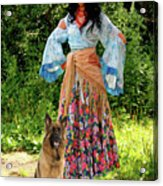 Jalma With Her Dog Ryzhko Acrylic Print