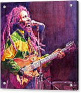 Jammin - Bob Marley Acrylic Print by David Lloyd Glover