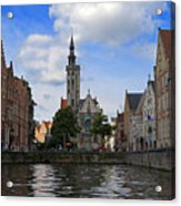 Jan Van Eyck Square With The Poortersloge From The Canal In Bruges Acrylic Print