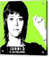 Jane Fonda Mug Shot - Lime Acrylic Print