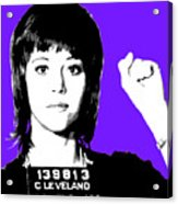 Jane Fonda Mug Shot - Purple Acrylic Print