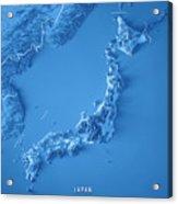 Japan 3d Render Topographic Map Blue Border Acrylic Print