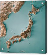 Japan 3d Render Topographic Map Neutral Border Acrylic Print