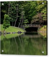 Japanese Garden Bridge Reflection Acrylic Print