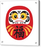 Japanese Daruma Doll Illustration Acrylic Print