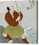 Japanese Fisherman Fishing Catching Trout Fish Acrylic Print by Aloysius Patrimonio