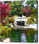 Japanese Garden Bridge And Koi Pond Acrylic Print