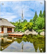 Japanese Garden In Park With Tower Acrylic Print