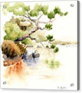 Japanese Garden Pond Sketch Acrylic Print