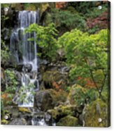 Japanese Garden Waterfall Acrylic Print by Sandra Bronstein