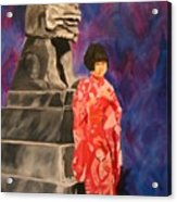 Japanese Girl With Chinese Lion Acrylic Print