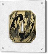 Japanese Katana Tsuba - Golden Twin Dragons On Black Steel Over White Leather Acrylic Print