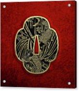 Japanese Katana Tsuba - Golden Twin Koi On Black Steel Over Red Velvet Acrylic Print