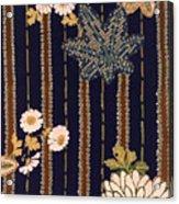 Japanese Maple And Chrysanthemum Modern Interior Art Painting. Acrylic Print