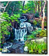 Japanese Waterfall Garden Acrylic Print