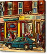 Java U Coffee Shop Montreal Painting By Streetscene Specialist Artist Carole Spandau Acrylic Print