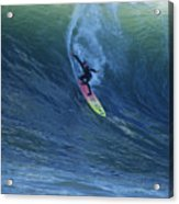 Jay Drops In At Mavericks Acrylic Print by Stan and Anne Foster