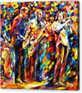 Jazz Band - Palette Knife Oil Painting On Canvas By Leonid Afremov Acrylic Print