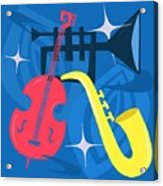 Jazz Composition With Bass, Saxophone And Trumpet Acrylic Print