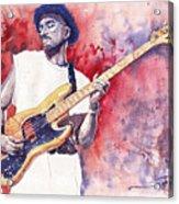 Jazz Guitarist Marcus Miller Red Acrylic Print
