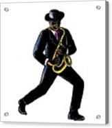 Jazz Musician Playing Saxophone Scratchboard Acrylic Print