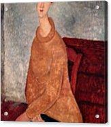 Jeanne Hebuterne In A Yellow Jumper Acrylic Print
