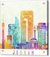 Jeddah Landmarks Watercolor Poster Acrylic Print