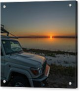 Jeep Driver Watching Sunset Over Peaceful River Acrylic Print