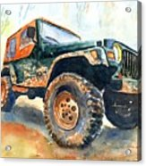 Jeep Wrangler Watercolor Acrylic Print