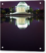 Jefferson Memorial Across The Pond At Night 4 Acrylic Print by Val Black Russian Tourchin