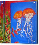 Jellyfish With Flowers Acrylic Print