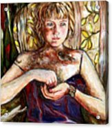 Girl And Bird Painting Acrylic Print