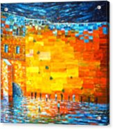 Jerusalem Wailing Wall Original Acrylic Palette Knife Painting Acrylic Print
