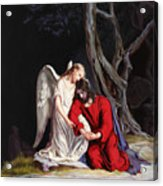 Jesus At Gethsemane Acrylic Print by Rebecca Poole