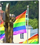 Jesus Christ Crucifixion And Gay Pride Flags View Acrylic Print