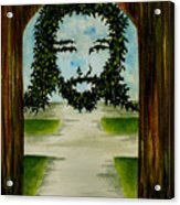 Jesus Face In Vines Acrylic Print