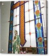 Jesus In The Church Window And School Girls In The Background Acrylic Print