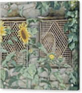 Jesus Looking Through A Lattice With Sunflowers Acrylic Print