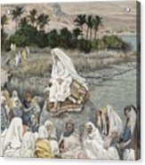Jesus Preaching By The Seashore Acrylic Print by Tissot