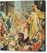Jesus Removing The Money Lenders From The Temple Acrylic Print