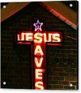 Jesus Saves In Neon Lights Acrylic Print