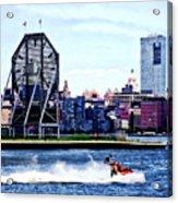 Jet Skiing By Colgate Clock Acrylic Print