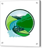 Jetboat River Canyon Mountain Oval Retro Acrylic Print