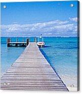 Jetty On The Beach, Mauritius Acrylic Print