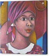 Jeune Fille En Rose Acrylic Print