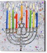 Jewish Holiday Hannukah Symbols - Menorah Acrylic Print